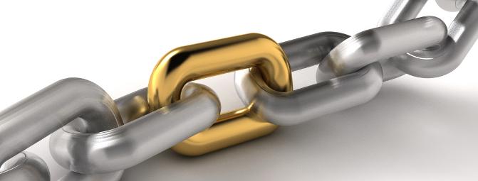 Une chaine en acier (les liens) contient un lien en or (le lien externe)