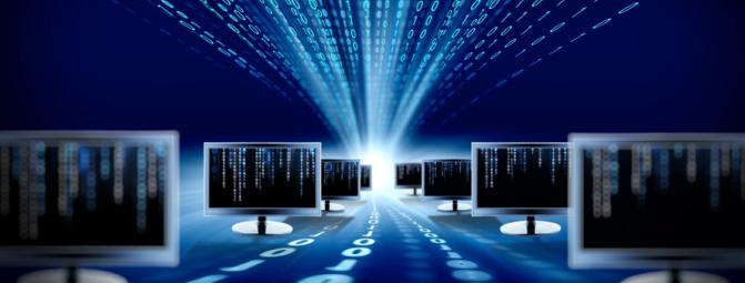 Des écrans d'ordinateurs (les sites) et le flux de la matrice binaire à grand coup de bits (la mise en ligne)